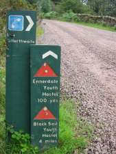 Signpost to the Youth Hostels at Gillerthwaite