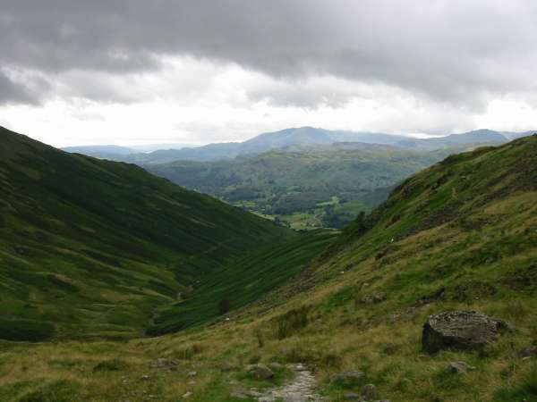 The view back down from near the top of Tongue Gill