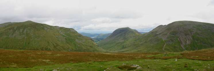 Dollywaggon Pike, Saint Sunday Crag and Fairfield from near Seat Sandal's summit
