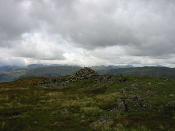 The view west from Seat Sandal's summit cairn