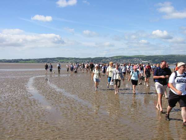 Walking away from Kents Bank, our final destination. You don't walk in straight line to cross the Bay