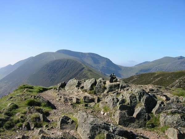 Causey Pike summit with the ridge to Scar Crags, Sail and Eel Crag