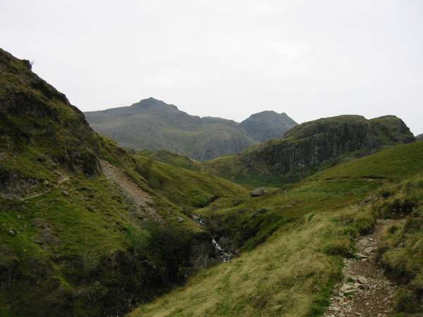 Scafell Pike and Ill Crag from below Green Crag