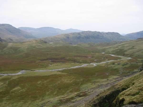 Looking down on Great Moss. The ridge across the centre of the photograph is Hard Knott