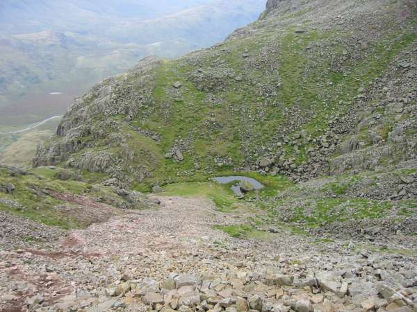 Looking back down the scree slope to Foxes Tarn