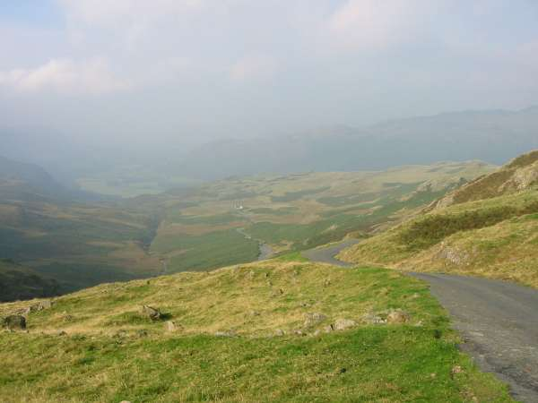 Looking down on Eskdale from Hardknott Pass