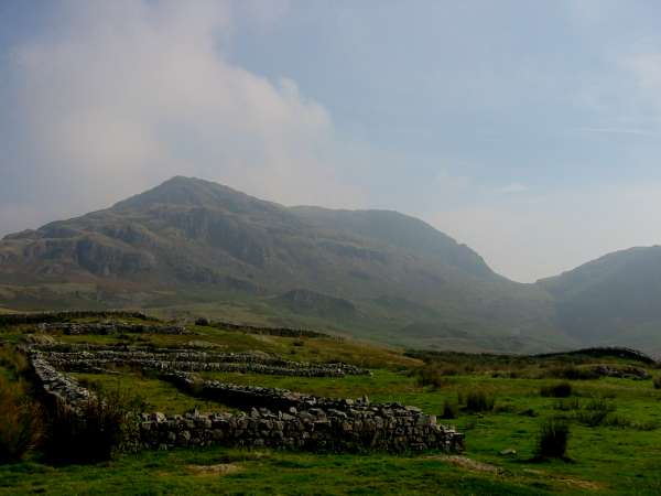 Hard Knott (the fell) and Hardknott Pass from the Fort