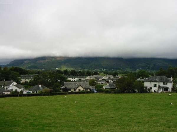 Braithwaite from Braithwaite Lodge. Skiddaw and Dodd hidden by the cloud