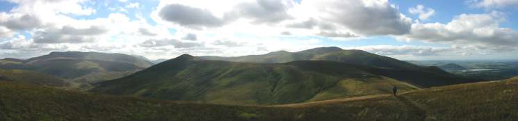 Blencathra, Great Calva and Skiddaw from Knott