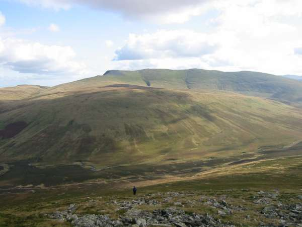 Descending to the River Caldew with Blencathra and Mungrisdale Common ahead