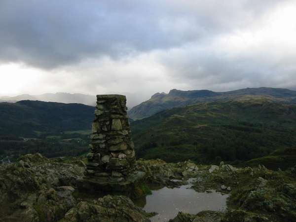 Looking towards the Langdale Pikes from Loughrigg Fell summit
