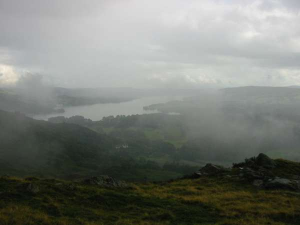 Windermere through the cloud from Ivy Crag