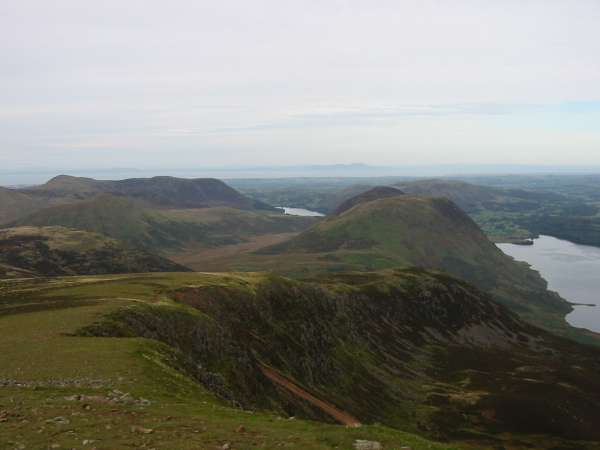 The view back down Lingcomb Edge to the Loweswater Fells with Scotland in the distance