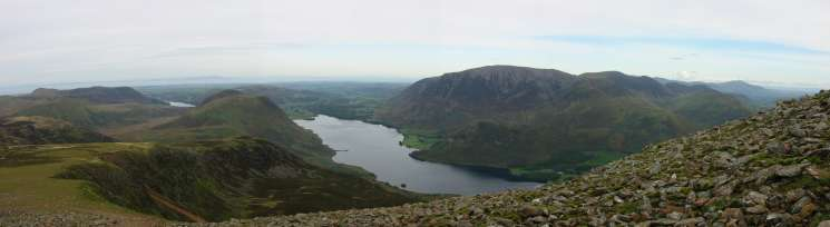 The Loweswater Fells and Grasmoor from near Red Pike's summit. Blencathra can be seen in the distance (top right)
