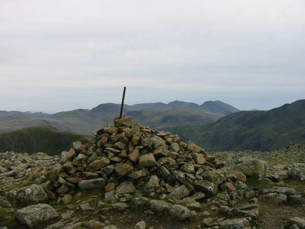 Great Gable and the Scafells from High Stile's summit