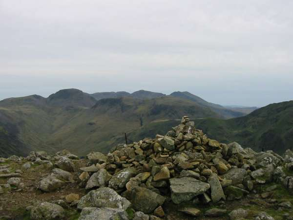Great Gable and Kirk Fell with the Scafells behind from High Crag summit