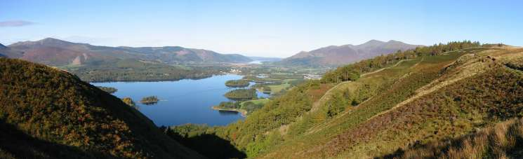 Derwent Water with Bassenthwaite Lake beyond from Cat Gill. Walla Crag is on the right with Skiddaw behind