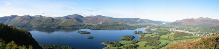 Panorama from Walla Crag's summit