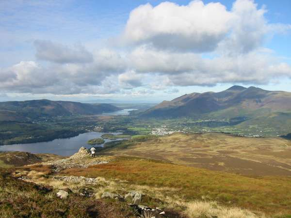 Skiddaw and Keswick from Bleaberry Fell's northwest cairn