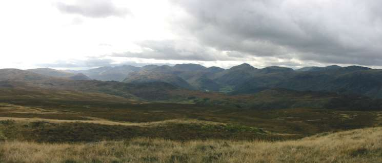 The view southwestwards to Bowfell, Great End and Great Gable from High Seat
