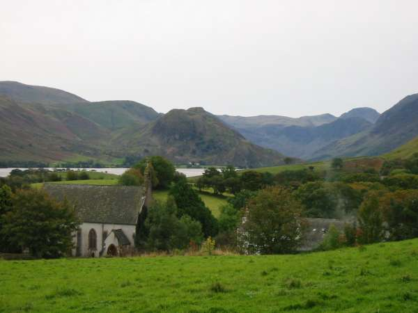 Looking over Loweswater church to Rannerdale Knotts