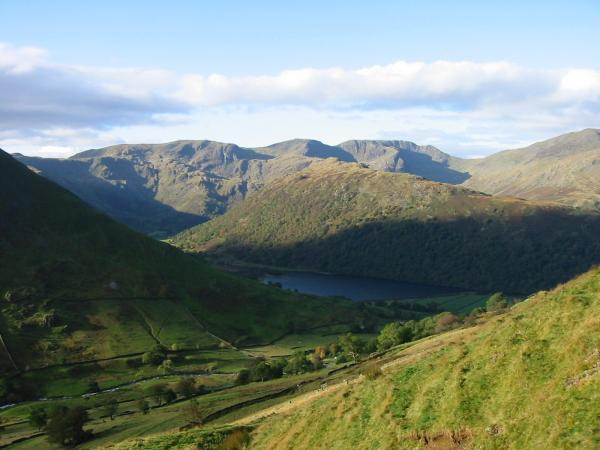 Looking back down on Brothers Water with the wooded Hartsop Above How ridge and Fairfield behind