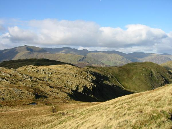 Looking over Satura Crag to the Helvellyn range
