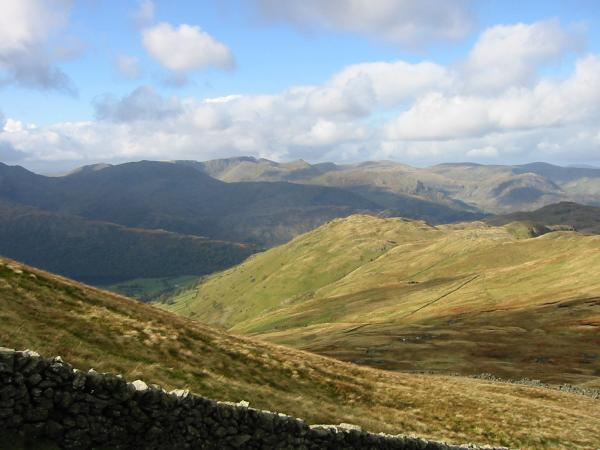 Looking over Brock Crags to the Helvellyn Range from descent off The Knott