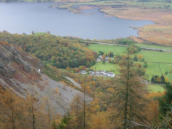 Looking down on The Bishop, the Swan Hotel and Bassenthwaite Lake