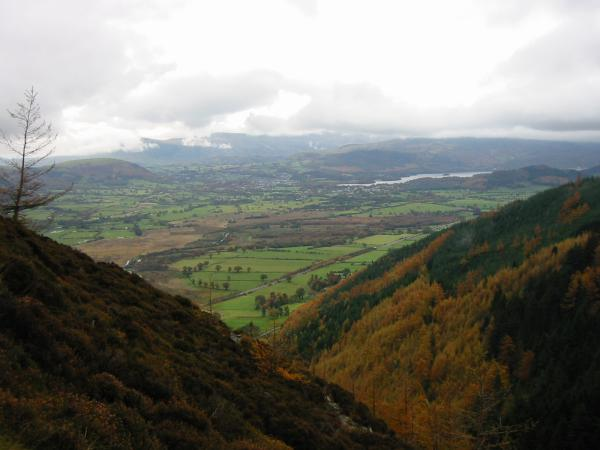 Latrigg, the Vale of Keswick and Derwent Water from the climb up Barf