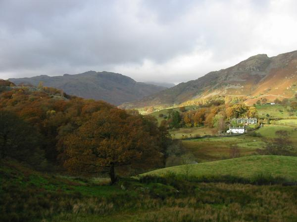 Looking across Little Langdale towards Pike O' Blisco from near Stang End