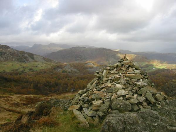 The Langdale Pikes and Lingmoor Fell from the big cairn on Ivy Crag