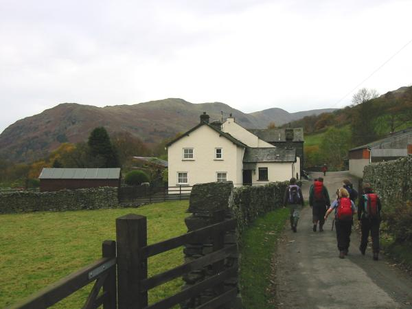 Nook End Farm with the Great Rigg side of the Fairfield Horseshoe behind