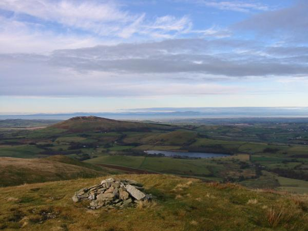 Binsey, Over Water and Scotland from the cairn at the west end of Great Cockup's summit