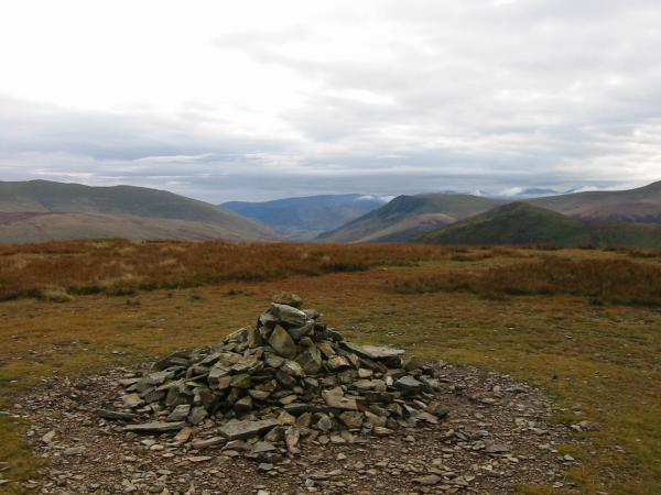 Looking south from Knott's summit to Lonscale Fell and Great Calva