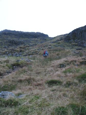 Climbing up Seathwaite Fell (AW's B route)