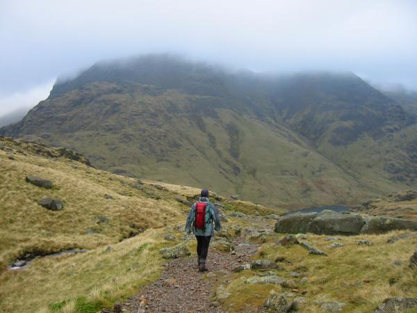 Descending to Sty Head with Great Gable ahead