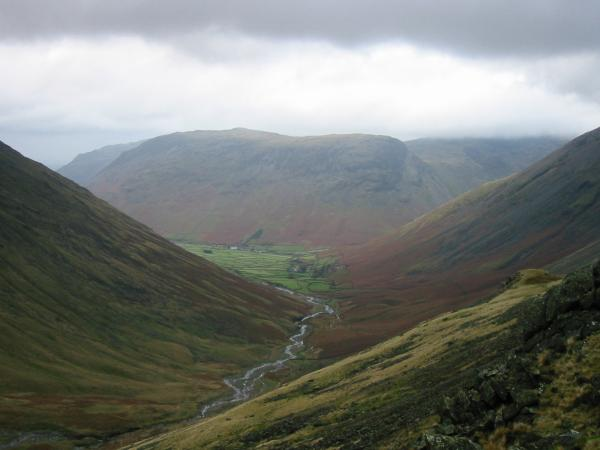 A short diversion from Sty Head allows you to look down on Wasdale Head with Yewbarrow behind