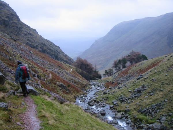 The Taylorgill Force path follows the left (west) bank of Styhead Gill