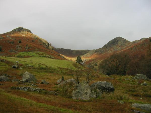 Pike Howe on the left and Tarn Crag on the right, either side of Stickle Ghyll