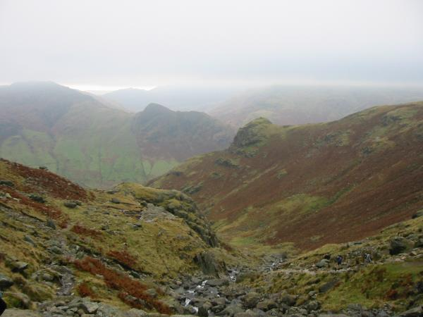 Stickle Ghyll with Pike Howe and the ridge we ascended on the right and Side Pike seen across Langdale