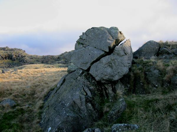 AW's 'perched and split boulder'