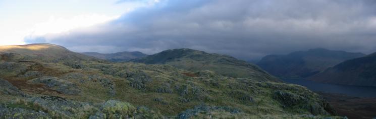 Panorama: Seatallan, in sunshine to The Scafells