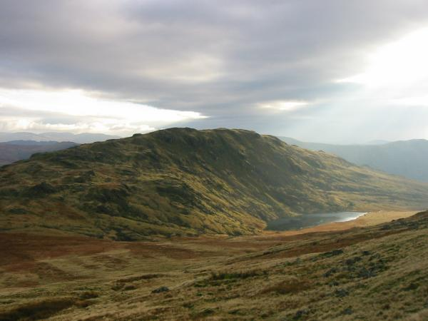 Middle Fell and Greendale Tarn from the descent off Seatallan