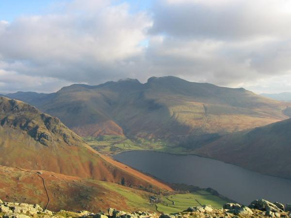 The Scafells and Wastwater from Middle Fell's summit