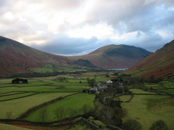 Looking back down on Wasdale Head, with Illgill Head and Wastwater in the distance, from near the start of the climb