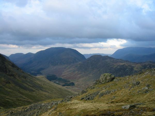 Looking down into Ennerdale with the High Stile ridge and Haystacks behind
