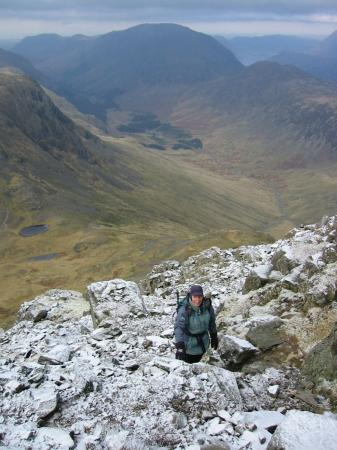 Nearing the top of Great Gable from the route up from Beck Head