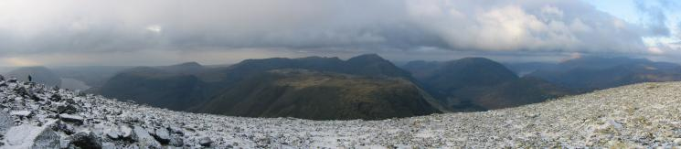 Southwest to north panorama from Great Gable's summit