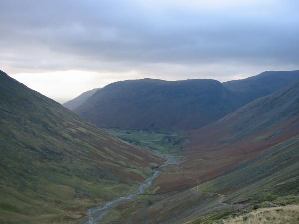 Yewbarrow and Wasdale Head from the Sty Head path